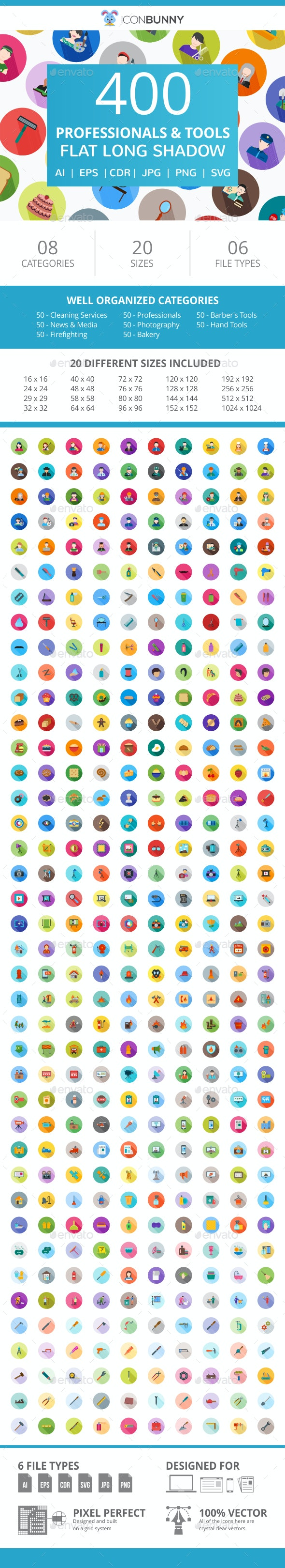 400 Professionals & their Tools Flat Long Shadow Icons - Icons