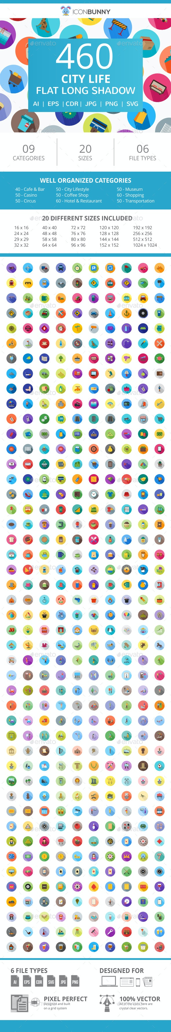 460 City Life Flat Long Shadow Icons - Icons