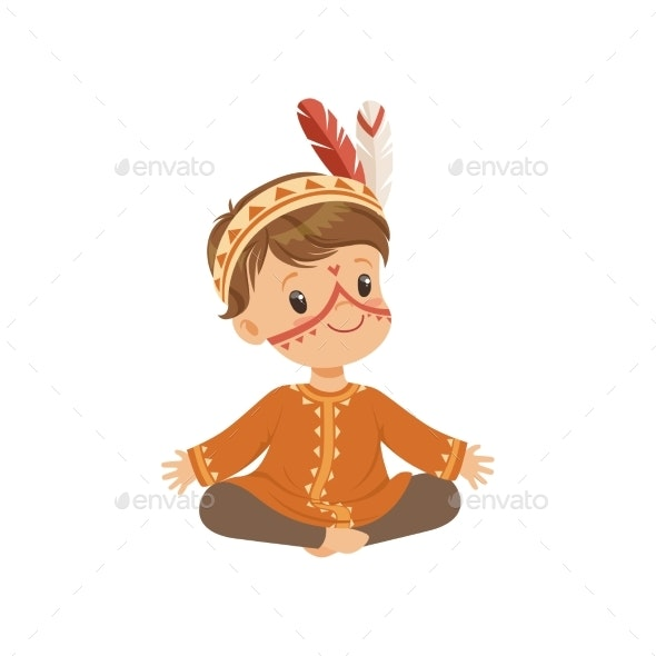 Boy Wearing Native Indian Costume and Headdress - People Characters