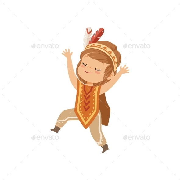 Girl Wearing Native Indian Costume and Headdress - People Characters
