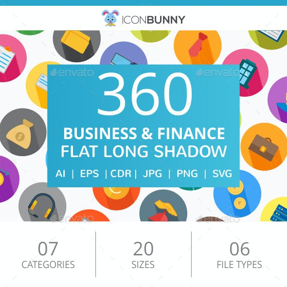 360 Business & Finance Flat Icons