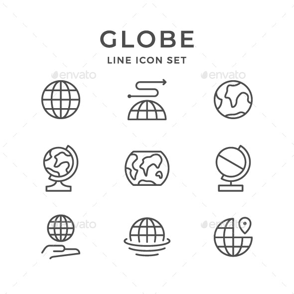 Set Line Icons of Globe - Man-made objects Objects