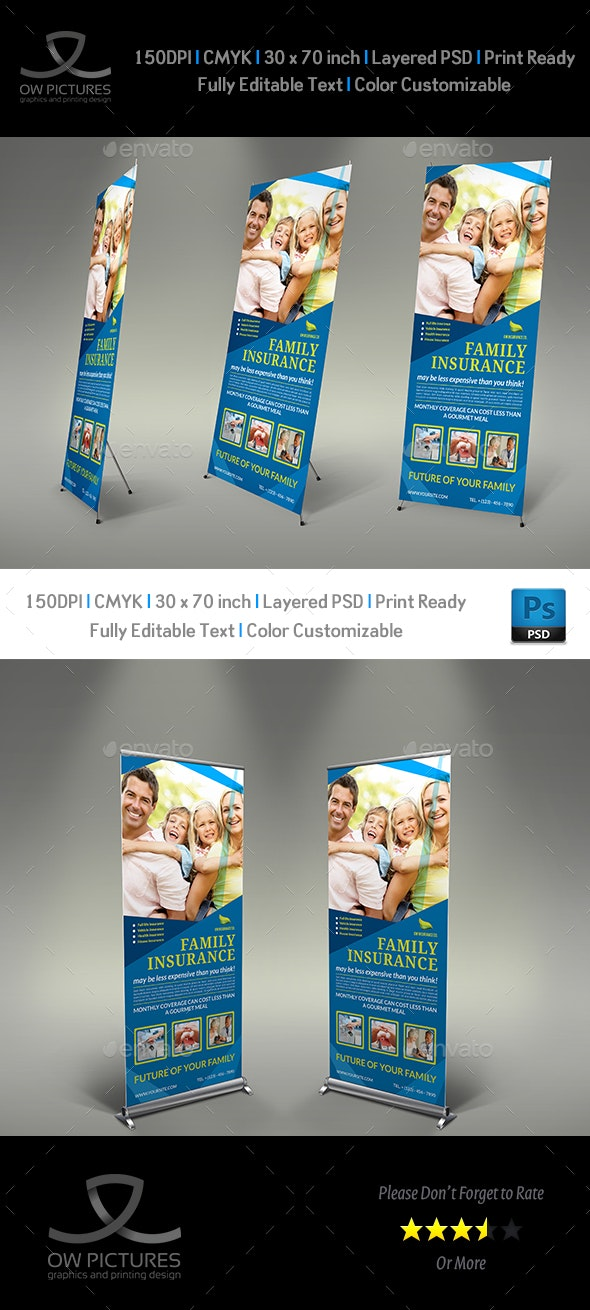Insurance Signage Banner Roll Up Template - Signage Print Templates