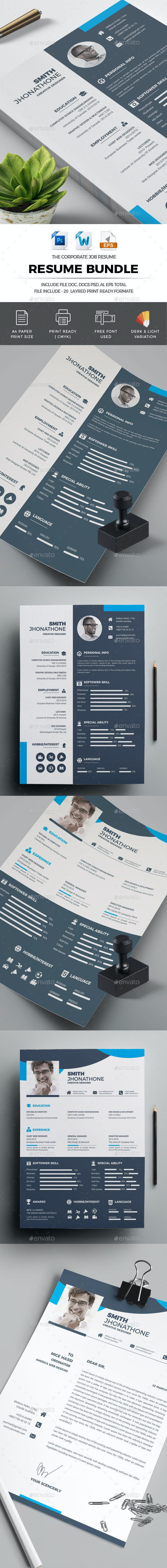 Resume CV Template Bundle - Resumes Stationery