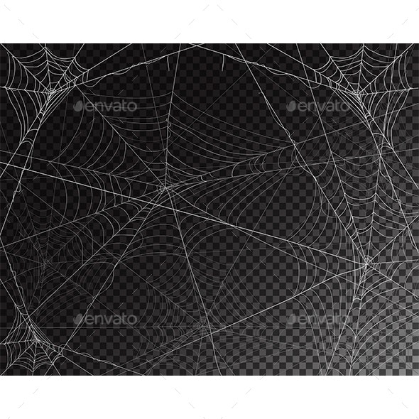 Black Transparent Background for Halloween with Spiderwebs - Halloween Seasons/Holidays