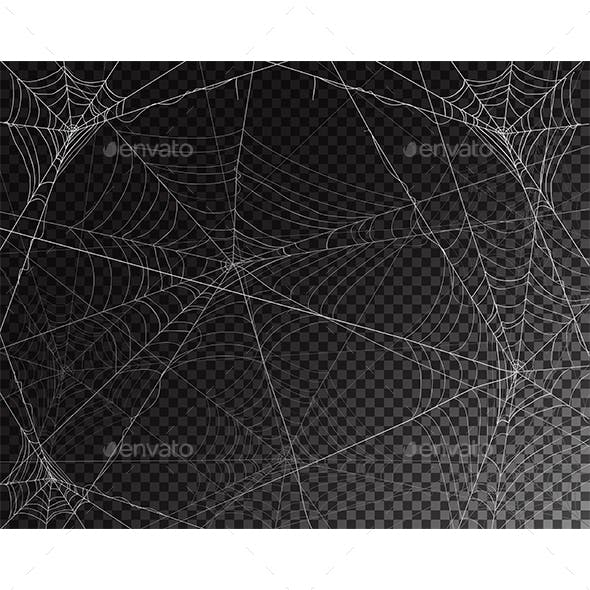 Black Transparent Background for Halloween with Spiderwebs