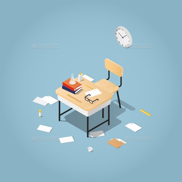 Back to School Isometric Illustration - Miscellaneous Vectors