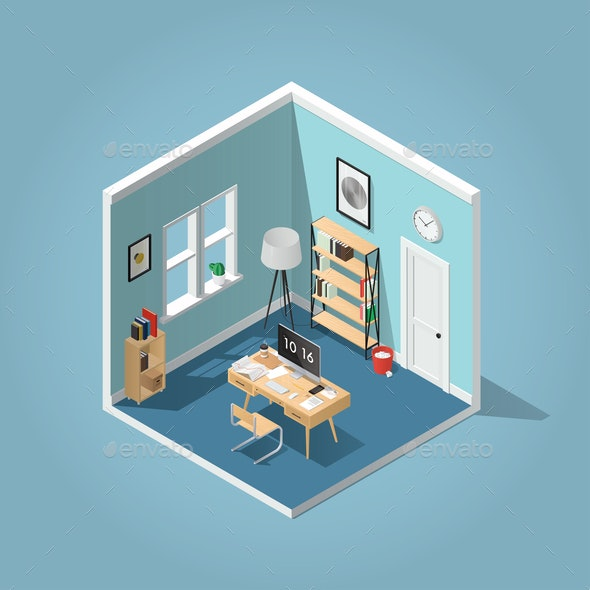 Isometric Home Office Illustration - Miscellaneous Vectors