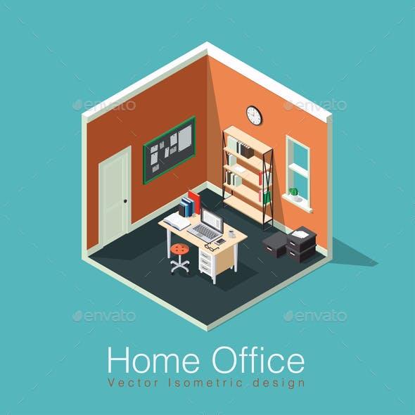 Isometric Home Office Room Illustration