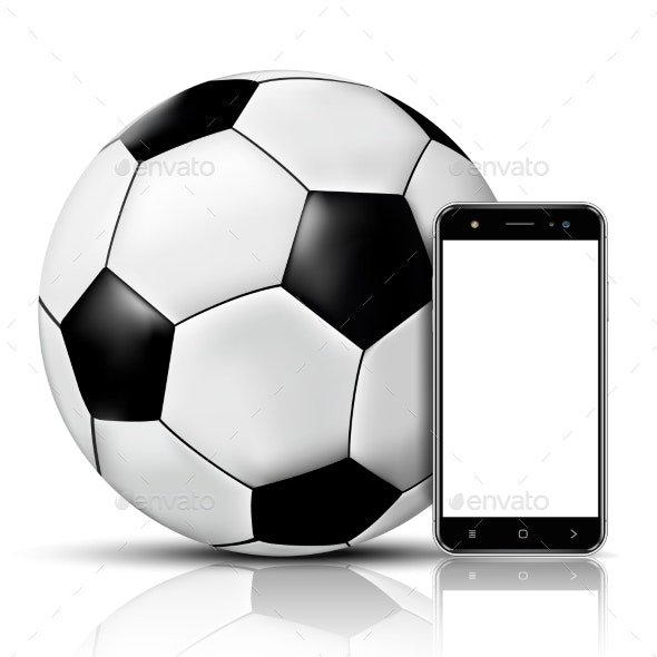 Soccer Ball and Smartphone with Blank Screen - Sports/Activity Conceptual