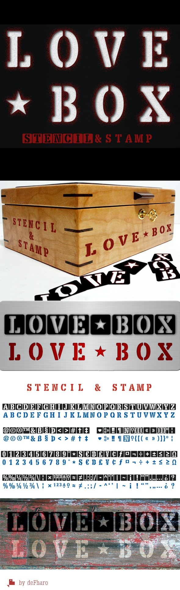 LOVE BOX Stencil & Stam - Stencil & Type Decorative
