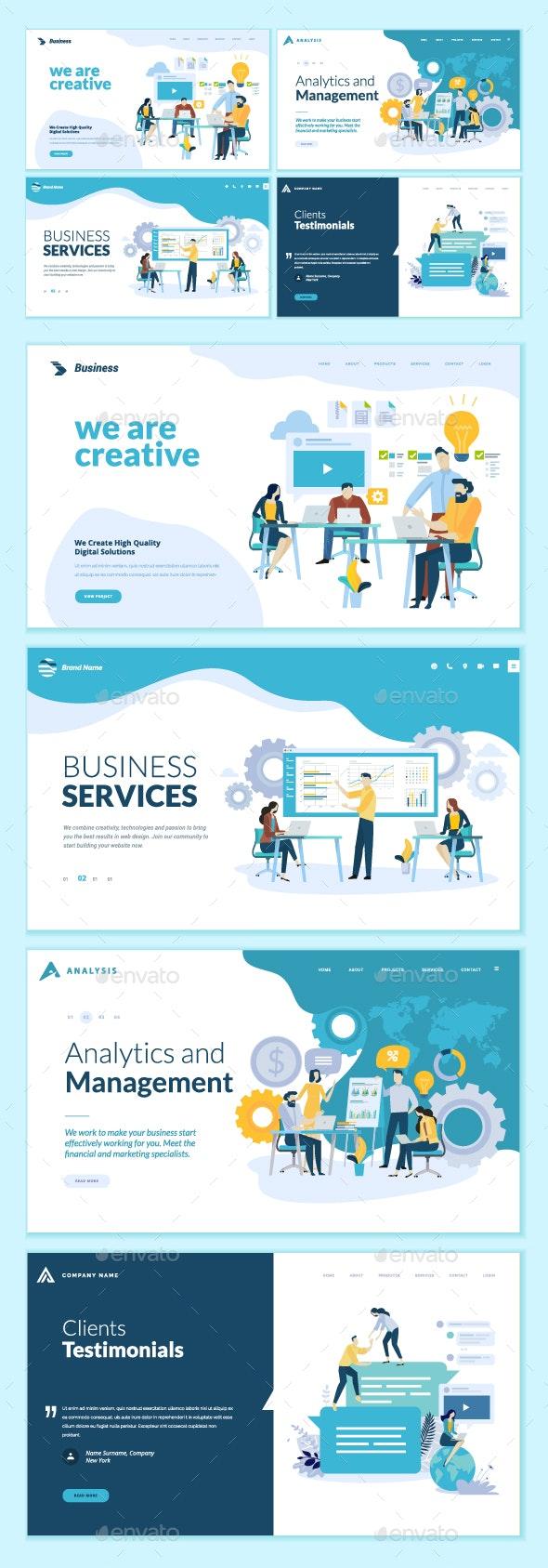 Business Web Design Templates - Web Elements Vectors