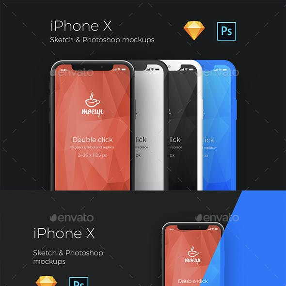 iPhone X App PSD and Sketch Mockups