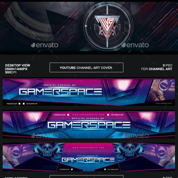 Gamer Space Youtube Channel Art/Video Thumbnail and Ending Video Template