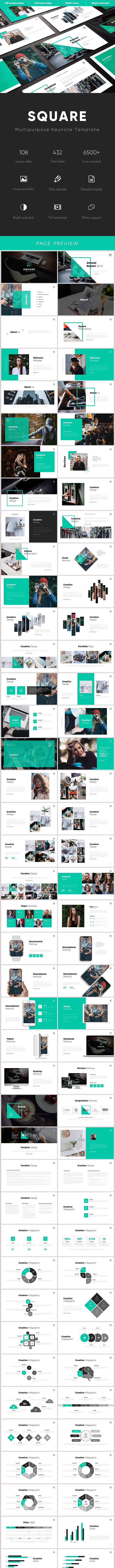 Square Multipurpose Keynote Template - Business Keynote Templates