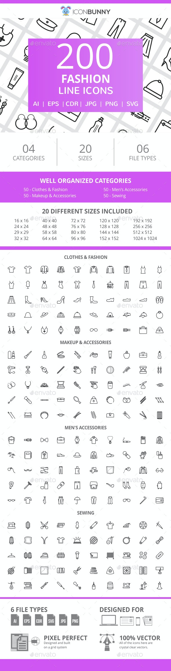 200 Fashion Line Icons - Icons