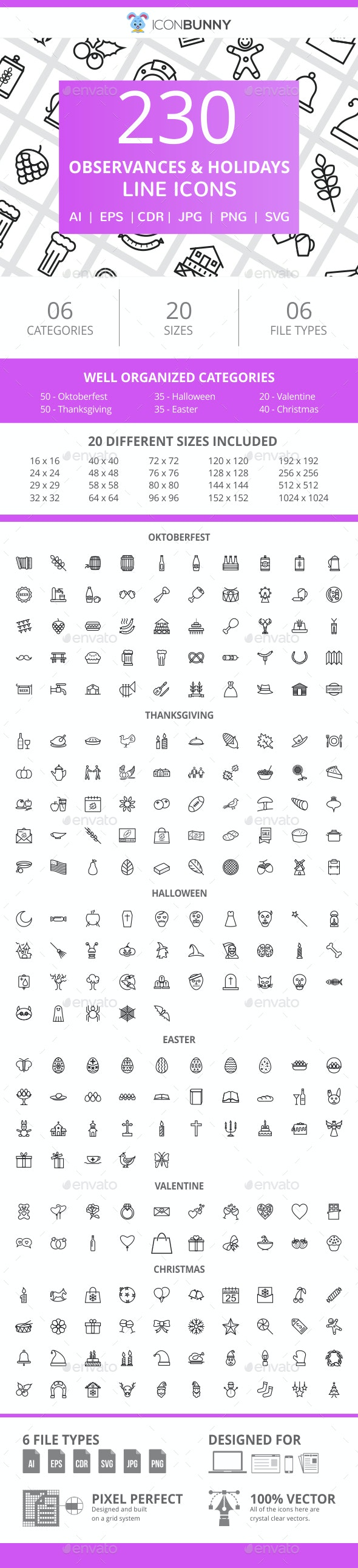 230 Observances & Holiday Line Icons - Icons