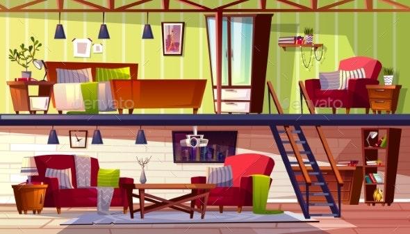 Two Storey Loft Rooms Interior Vector Illustration - Conceptual Vectors
