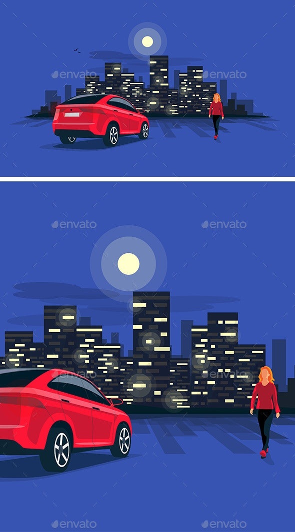 Red Suv Car Parking at Night with Woman on Night City Skyline - Buildings Objects