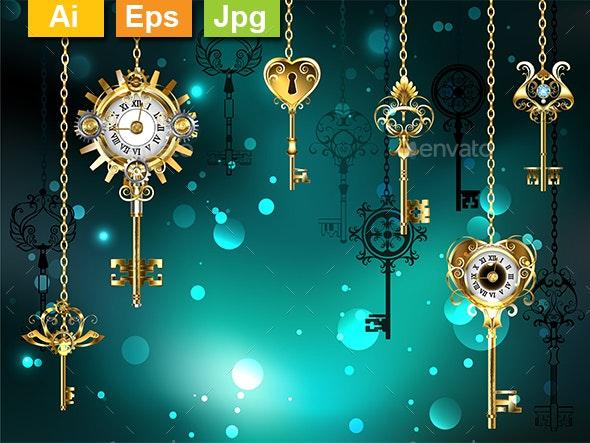 Antique Keys on Green Background - Backgrounds Decorative