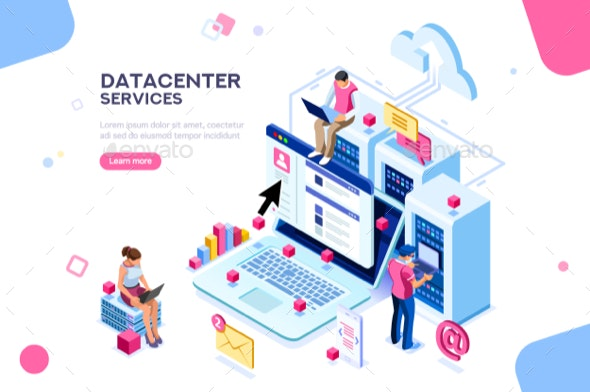 Datacenter Concept Vector Design - Computers Technology
