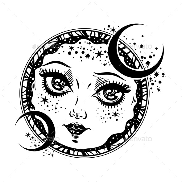 Magic Night Crescent Moon Face Girl - Tattoos Vectors