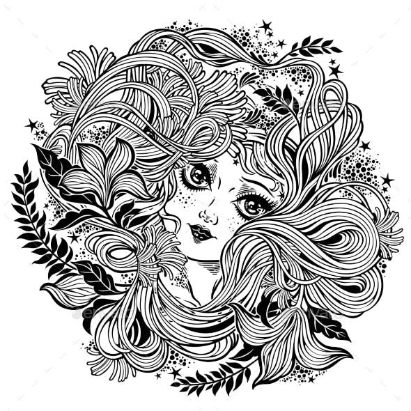 Celtic Fairy Green Elf Illustration in Flowers