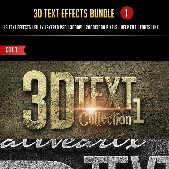3D Text Effects Bundle 1