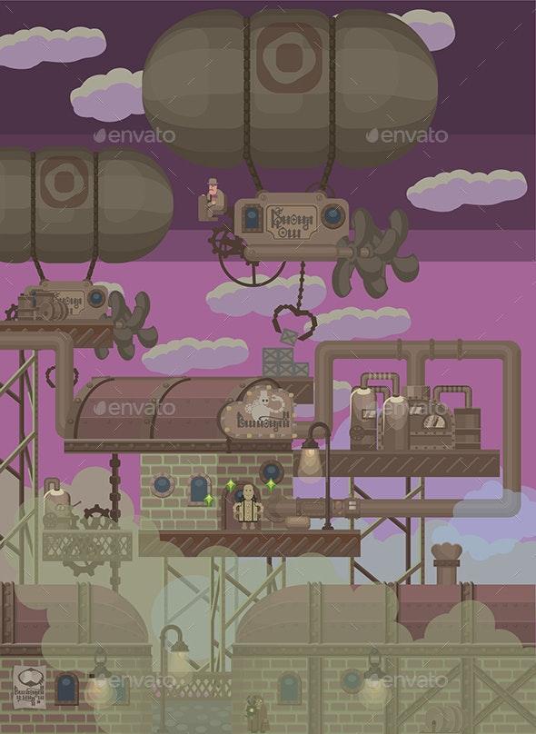 2D SteamPunk Set - Tilesets Game Assets