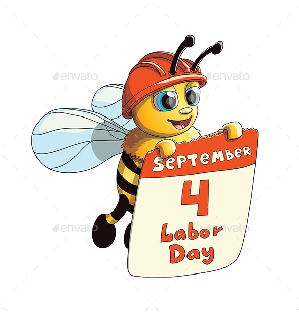 Illustration of a Bee with Labor Day Poster - Miscellaneous Characters