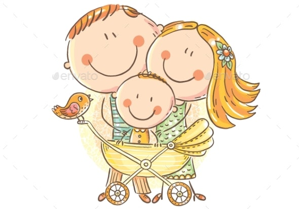 Family with a Baby in a Baby Carriage - People Characters