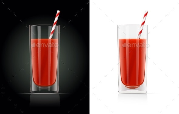 Fresh Tomato Juice Glass with Pipe - Food Objects