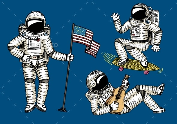 Astronaut Soaring with the USA Flag - People Characters