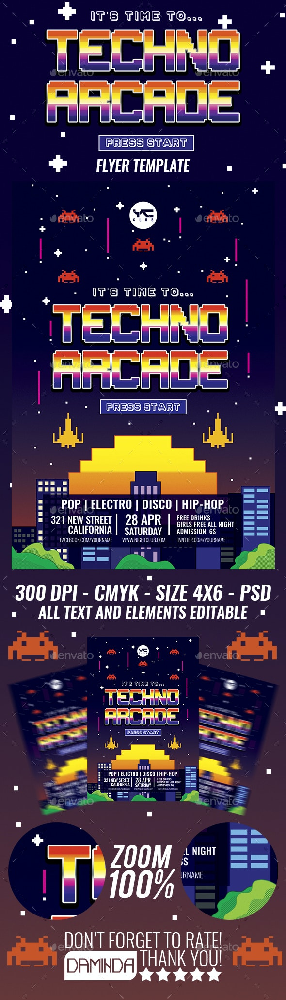 Techno Arcade Flyer Template - Clubs & Parties Events