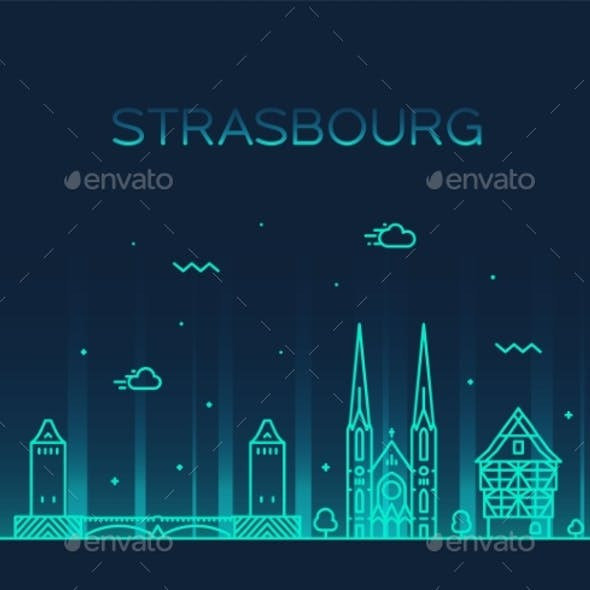 Strasbourg City Skyline Grand Est France Vector