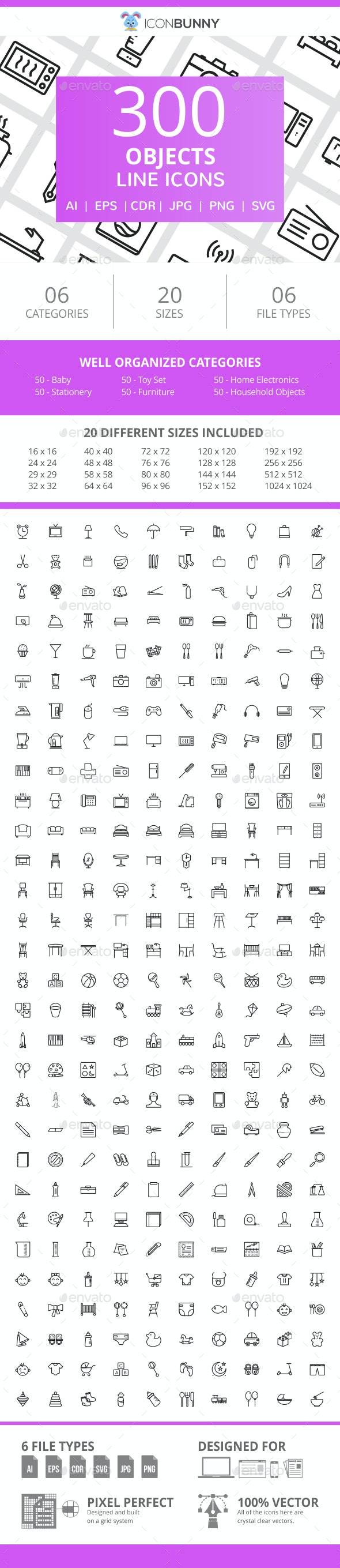 300 Objects Line Icons - Icons