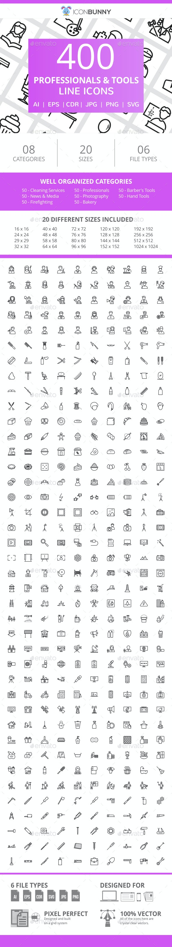 400 Professionals & their tools Line Icons - Icons