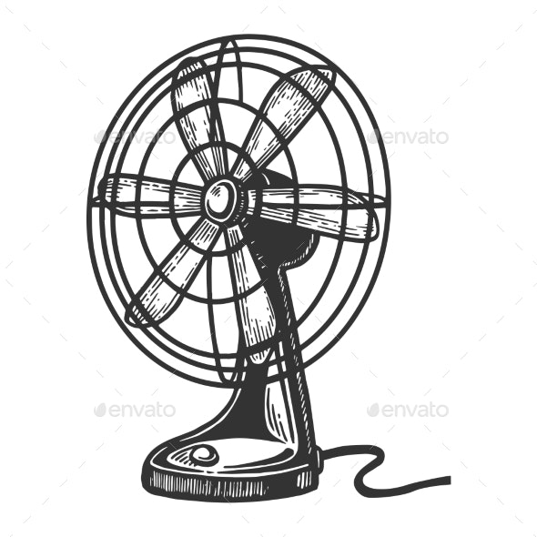 Old Table Fan Engraving Vector Illustration - Miscellaneous Vectors
