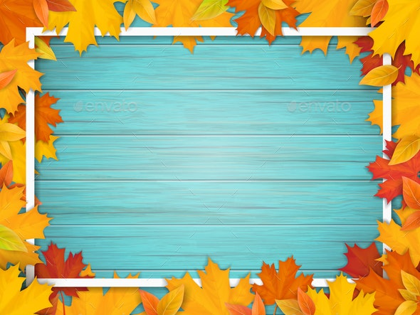 Autumn Leaves and Frame - Seasons Nature
