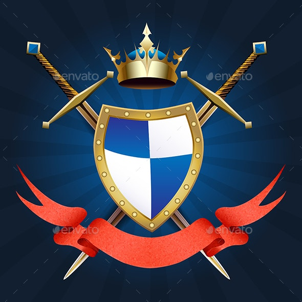 Heraldic Knight Coat of Arms - Decorative Symbols Decorative