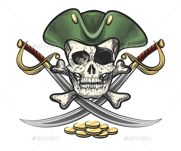 Hand Drawn Pirate Skull and Bones with Sabers - Tattoos Vectors