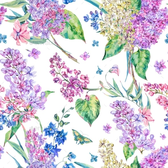 Vector Vintage Floral Seamless Pattern with Pink - Flowers & Plants Nature