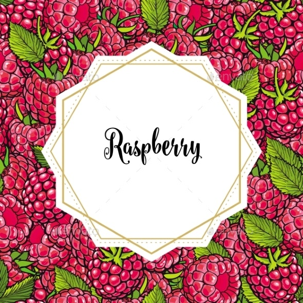 Raspberry Seamless Pattern with Fresh Ripe Berries - Food Objects