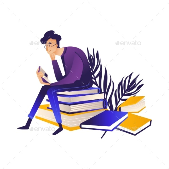 Young Man in Eyeglasses Sitting on Pile of Books - People Characters