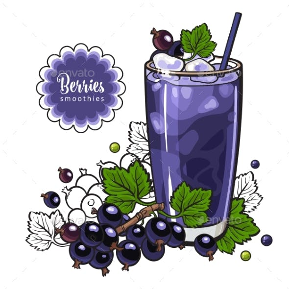 Black Currant Smoothie in Sketch Style Isolated on