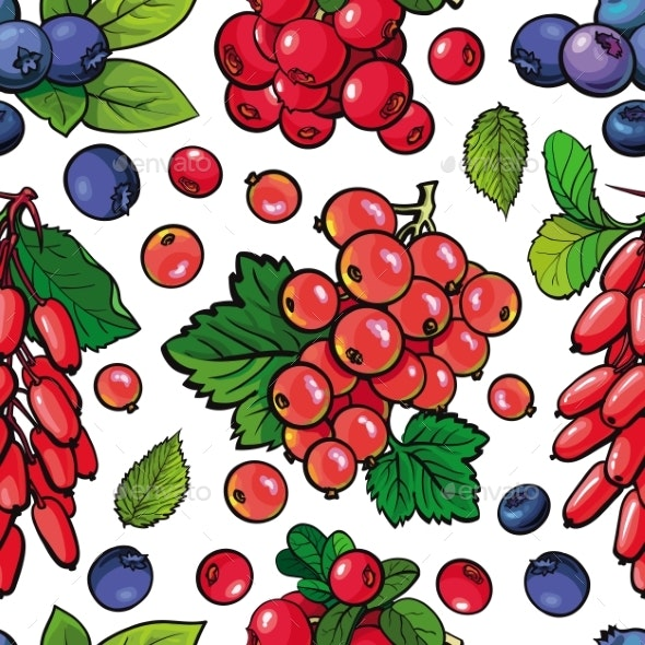 Summer Berries Seamless Pattern - Food Objects