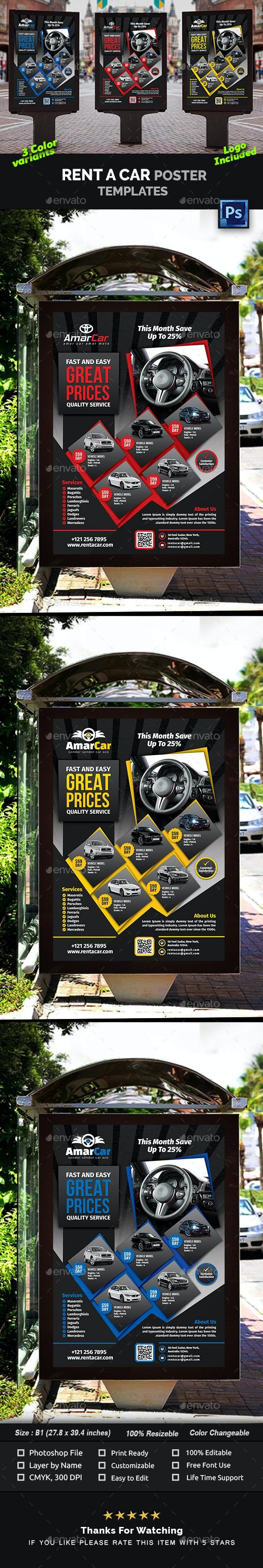 Rent a Car Poster Templates - Signage Print Templates