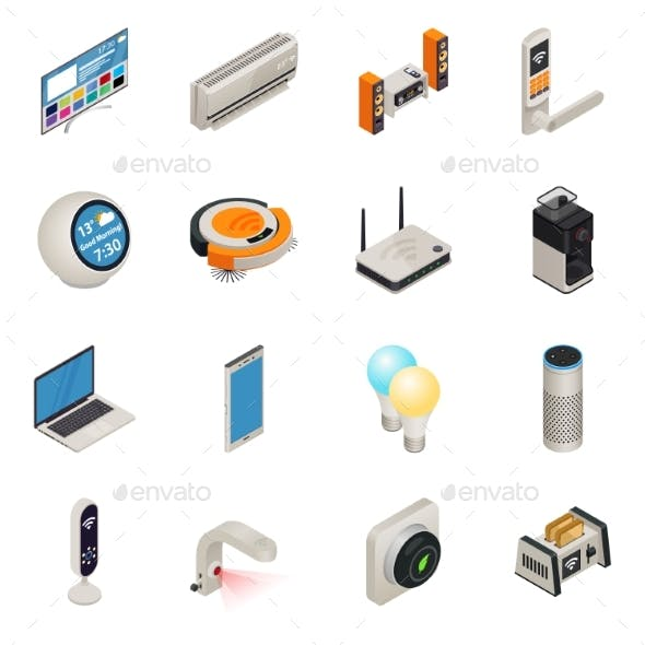 Smart Home Internet Connected Devices Isometric