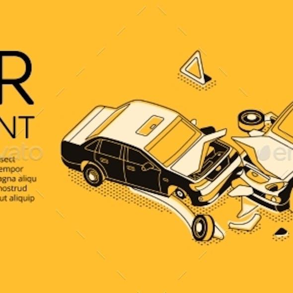 Car Accident Insurance Vector Illustration