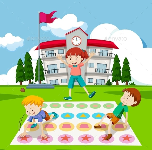 Children Playing Twister Game - People Characters